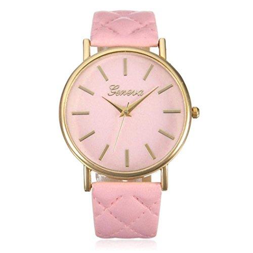 vovotrade Las mujeres de moda casual Ginebra Roman Banda de cuero analogico reloj de pulsera de cuarzo Rosado