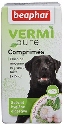Beaphar - VERMIpure, comprimés hygiène digestive - chien de moyenne et grande taille (> 15 kg) - 50 comprimés