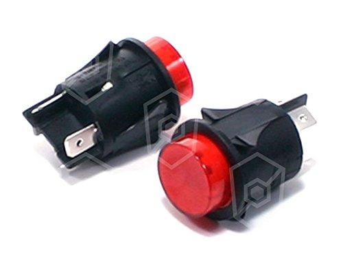 Impresión Interruptor 250V 16A 2Pines 2NO Rojo Iluminado empotrable métrica 25mm de...