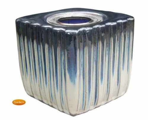 Gardeco Square Gel Burner Two Tone Blue Glazed