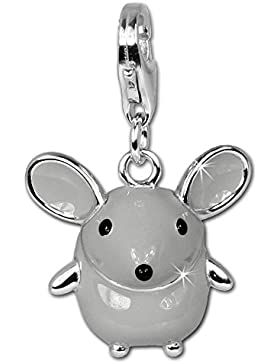 SilberDream Maus groß Emaille Charm 925 Sterling Silber Charms Anhänger für Armband Kette Ohrring FC612