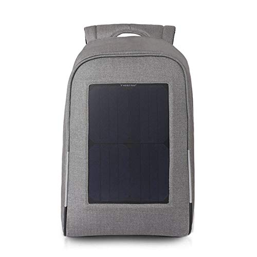 ZWYY Solar Rucksack, USB Laptop Tablet Bags Anti-Diebstahl Große Kapazität Bergsteigen Rucksack Outdoor-Sportbereich Wasserdichter Knapsack,Gray,44 * 36 * 13cm