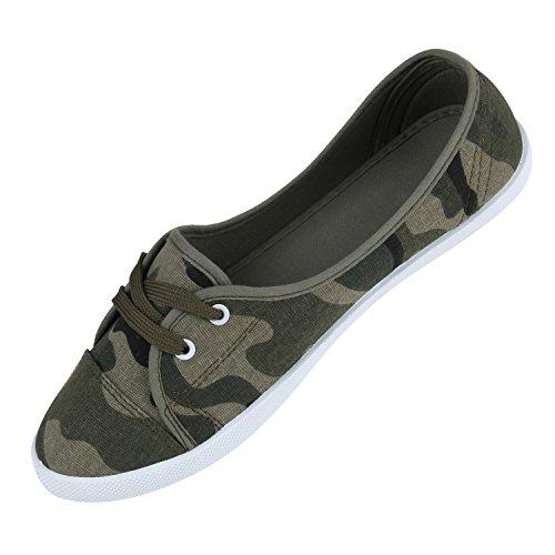 Damen Schuhe Sportliche Ballerinas Camouflage