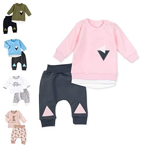 Baby Sweets Set Shirt Hose Mädchen rosa grau | Motiv: Triangle | Baby Outfit 2 Teile für Neugeborene & Kleinkinder | Größe: 9-12 Monate (80)...