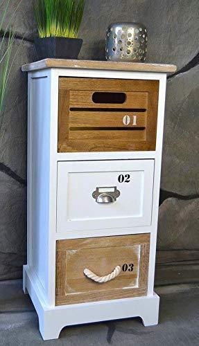 Livitat® Kommode Landhaus mit Schubladen Regal Badregal Badschrank Schrank Maritim 64 cm Höhe LV1059