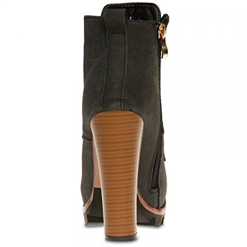 CASPAR SBO079 Damen Vintage Schür Stiefeletten mit Stiletto Absatz Schwarz