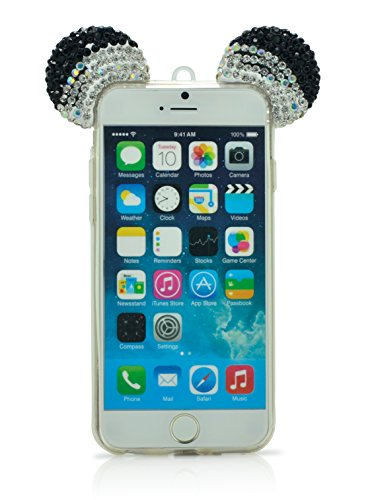 iProtect TPU coque de protection à paillettes pour Apple iPhone 6 Plus Soft Case avec dragonne et oreilles en or Noir