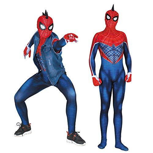 MAKAFJ Punk Spiderman Cosplay Kostüm Elastische Körper Strumpfhosen Halloween Film Kostüm Requisiten Weihnachtsfeier Kleid,ps4Punk Spiderman- ()