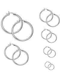 6 Pares de Acero Inoxidable Pendientes Aro Mujer redondo pendientes plata set 6 Tamaños 15mm-