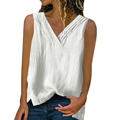 WooCo Sale Damen Leinen ärmellose Oberteile Shirt Damen V-Ausschnitt lose Bluse Tee Weste(Weiß,L)