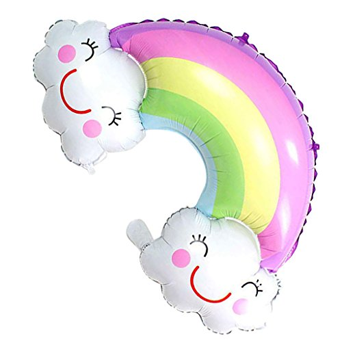 D DOLITY Grande Sorriso Fronte Nuvola Arcobaleno Palloncino A Elio Palloncino Baby Shower Compleanno Battesimo Accessori Per Feste