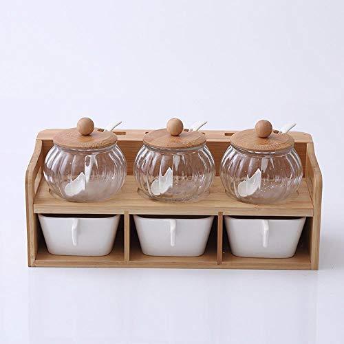 Cwllwc wly barattoli portaspezie, contenitore di ceramica condimento cucina e struttura di legno di bambù di condimento casella combinata di pepe sale