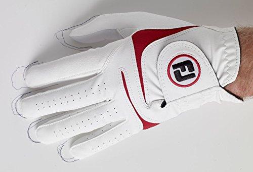 Footjoy WeatherSof Handschuh von Golf, Mann M Weiß/Rot -