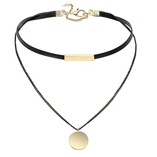 KnSam Damen Edelstahl Choker Halsketten Leder Gothic Kreis Doppel Schichten Seil Schwarz Gold [Neuheit Halskette]