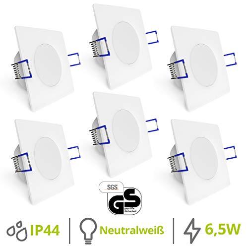 linovum® WEEVO 6er Set flache LED Einbaulampen Bad - Deckenstrahler 6,5W neutralweiß - eckig weiss IP44 Spritzwassergeschützt