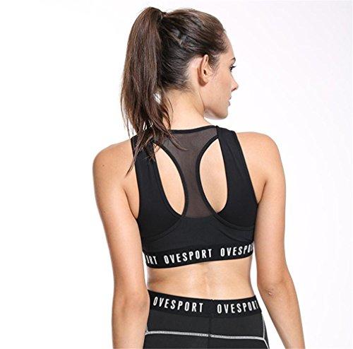 HAPPYMOOD Femme Sports Bra Yoga Bra Fonctionnement Le jogging Aptitude Exercice Tampon Racer Tank Crop Top Aérobie Gilet de danse black
