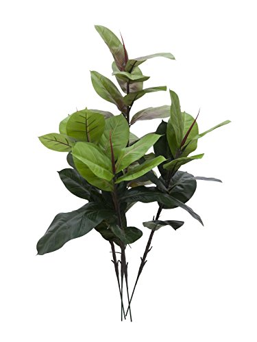 artplants Set 2 x Künstlicher Gummibaum mit 45 Blättern, 3-stämmig, 100 cm – Künstliche Zimmerpflanze/Deko Baum