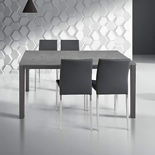 Milani Home s.r.l.s. Tavolo da Pranzo Moderno di Design ALLUNGABILE Cm 80 X 140/200 Rovere Grigio per Sala da Pranzo Cucina Ristorante