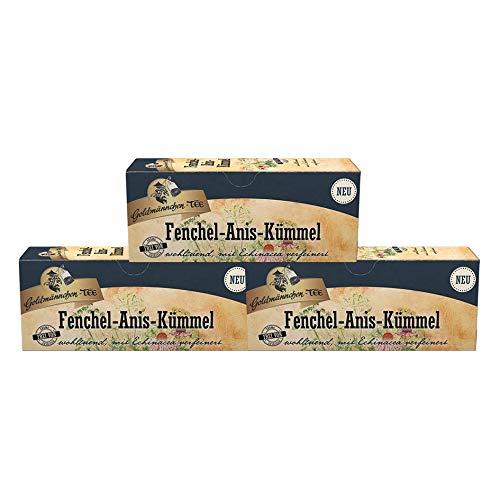 Goldmännchen-TEE Fenchel-Anis-Kümmel, 25 Teebeutel pro Packung, 3er Pack