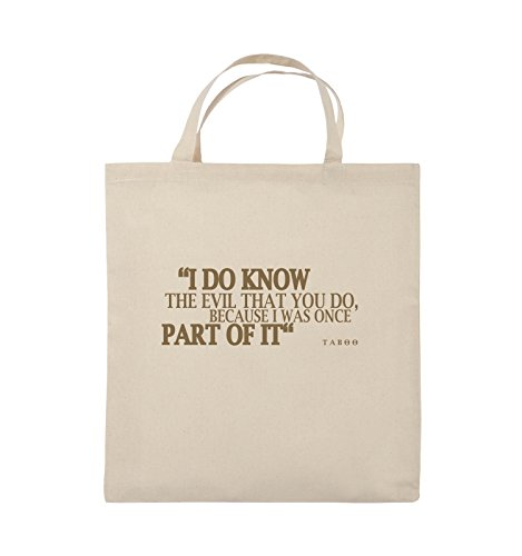Comedy Bags - I DO KNOW THE EVIL - TABOO - Jutebeutel - kurze Henkel - 38x42cm - Farbe: Schwarz / Pink Natural / Hellbraun