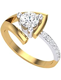 Clara Silvo 18K Gold Plated Sherry Sterling Silver Ring with American Diamond for Women and Girls