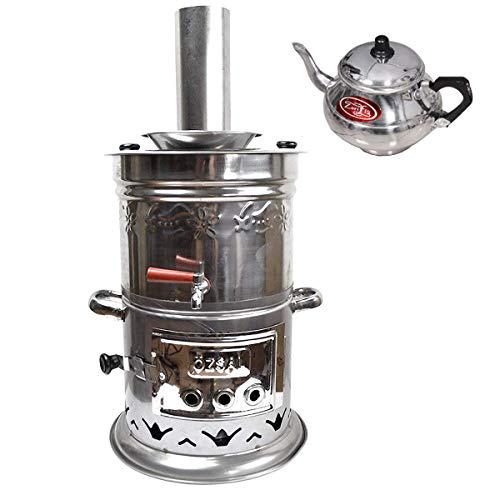 Holzkohle Samowar Kömürlü Odun Semaver Camping Teekocher mit Teekanne ca 8,5 Liter