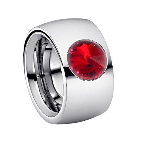 Heideman Ring Damen Coma 14 aus Edelstahl Silber farbend poliert Damenring für Frauen mit Swarovski Stein Kristall siam rot im Fantasie Edelsteinschliff 10mm (Rote Diamant-ring Weiss-gold)