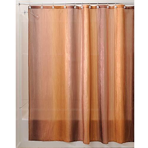 InterDesign Ombre rideau douche, rideau baignoire design au beau dégradé 183,0 cm x 183,0 cm en polyester, rideau de bain effet froissé, brun/doré