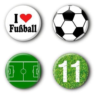 4 Fußball Buttons Ansteckbuttons Pins (2,5cm) (Fußball-buttons)