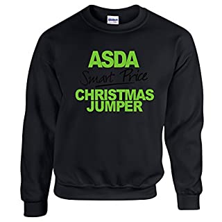 Igtees Asda Funny Christmas Womens Jumper - Sweatshirt, Green/Black-Print Color, Black, Large