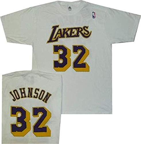 adidas Los Angeles Lakers Magic Johnson Blanco Pro Estilo Camiseta de Retroceso, Blanco