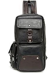 Outreo Bolsos de Piel Hombre Bolsa de Pecho Ocio Bolso Bandolera Cuero Sport Vintage Chest Bag Bolsas de Viaje Mochila Colegio