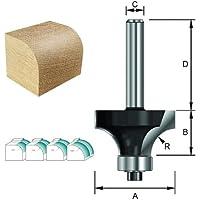 ENT Abrundfräser HW (HM), Schaft (C) 12 mm, Durchmesser (A) 22,7 mm, B 9,5 mm, R 5 mm, D 40 mm, mit Kugellager