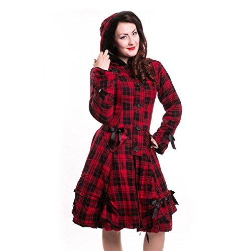 Industries Poizen Emo stile gotico Alice appendiabiti da donna rosso a scacchi fiocco con cerniera pulsante