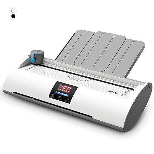 Plastificatrice a4 a5 a7, abox pixseal ii plastificatore a caldo freddo display della temperatura riscaldamento veloce laminatrice laminatore 350mm/min veloce con taglierina tagliangoli 20 fogli, nero