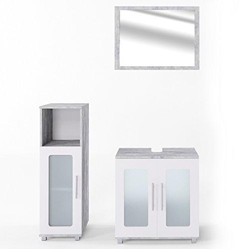 VICCO Badmöbel Set RAYK Weiß Grau Beton - Spiegel + Waschbeckenunterschrank + Hochschrank + Midischrank (Beton, Set 2)