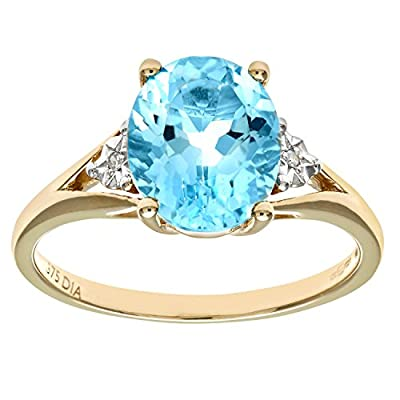 Naava 9ct Yellow Gold Oval Blue Topaz And Diamond Ring
