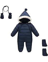Stillshine Baby Abajo Chaqueta, Espeso Invierno Jumpsuit Bebé Unisexo Traje de Nieve Mameluco con Capucha para Invierno Jumpsuit Botas de Nieve