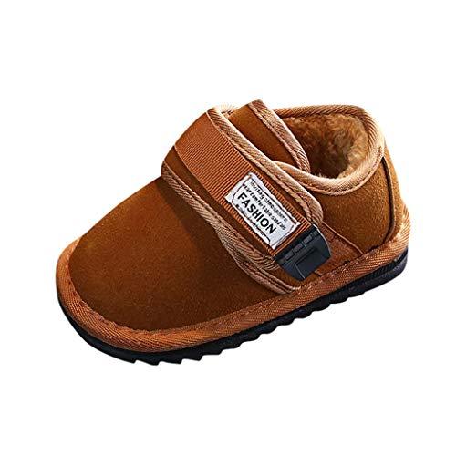 BoyYang Kinder Schuhe Unisex Baby Corany Klett Warme Plus Samt Sneaker Outdoor Schuhe Sportschuhe Turnschuhe Stiefel für Baby Jungen Mädchen (21,Braun)