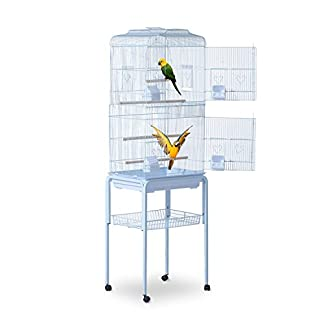 PawHut Large Metal Bird Cage w/ Breeding Stand Feeding Tray Wheels for Parrot Parakeet Macaw Pet Supply Light Blue 47.5L… 24