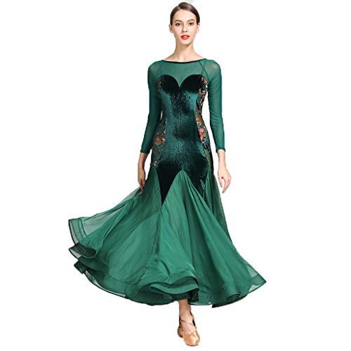 Prom Ballroom Dance Kleider - Tanzen Modern Smooth Waltz Tango Party Latin Swing Wettbewerb Dancewear Rock Kleid Kostüme Trikot Bekleidung und Accessoires für Frauen (Color : Dark Green, Size : S)