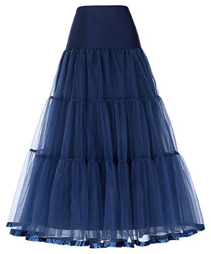50er Jahre Kleid Vintage Retro Petticoat Reifrock Unterrock Petticoat Lang Blau