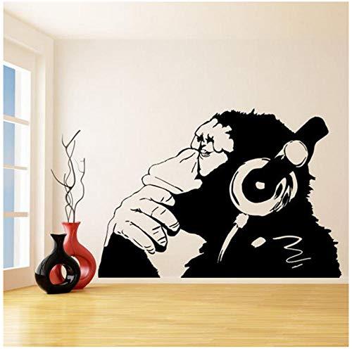 Banksy Vinyl Aufkleber Affe Mit Einem Headset Schimpanse Musik Hören In Kopfhörer Straße Graffiti Aufkleber Poster Wandbild 83 * 57 cm