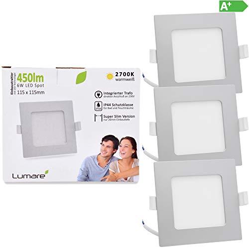 Lumare LED Einbaustrahler 6W 230V IP44 Ultra flach 3er Set Wohnzimmer, Badezimmer Einbauleuchten silber quadratisch 26mm Einbautiefe Mini Slim Decken Spot warmweiß
