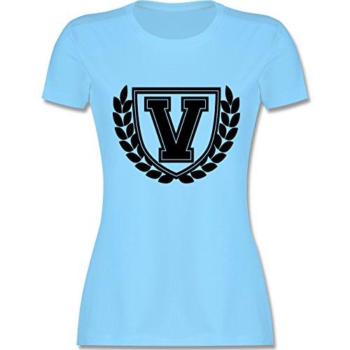 Anfangsbuchstaben - V Collegestyle - tailliertes Premium T-Shirt mit Rundhalsausschnitt für Damen Hellblau
