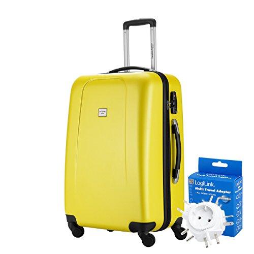 HAUPTSTADTKOFFER® 67 Liter Reisekoffer · WEDDING · TSA · MATT · (in versch. Farben) + REISEADAPTER (Burgund) Gelb