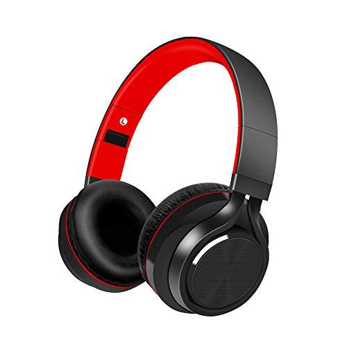 Alitoo Casque Bluetooth sans Fil Stéréo Audio Headphones Microphone Intégré Réduction de Bruit sur l'oreille Pliable Écouteurspour Android/Smartphone/TV/PC/MP3 (Black&Red)