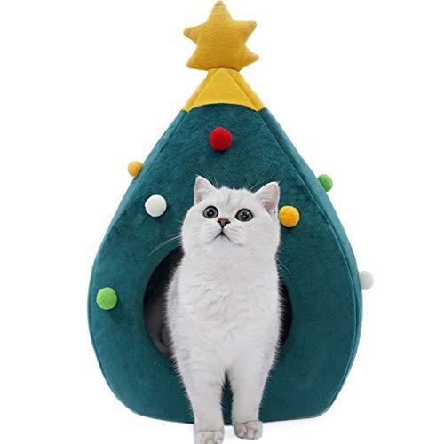 PJDDP Weihnachtsbaum-Katze-Haus, Katze Tent Cave Bed, Innen Doggy Haus Cat House Bed Cat Igloo 2-In-1 Selbst Warming Bequeme Dreieck Katzenbett Haustier-Zelt-Haus