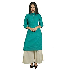 Attire Fashion Cotton Pintuck Designed Long Kurti (Green Color)