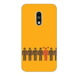 Customizable Hamee Original Cover Thin Fit Plastic Hard Back Case Cover for Motorola Moto X Force (Men on yellow)